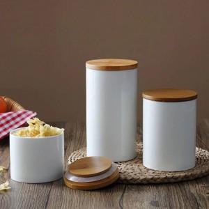 Natural Design Keramikversiegelung Topf Vorratsflasche Glas mit Bambusabdeckung für Küche Lebensmittel Tee Kaffeebohnen und Gewürze