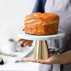Natürliche Marmorpalette Kuchen Dessert Hohe Füße Platte Hochzeit Geburtstag Dessert Display Regal Dekoration Dessert Tablett Metallfuß