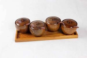 Naturholz Gewürzglas Salzglas Aufbewahrungsküche Set Kreative Gewürzdose Mit Tablettlöffel