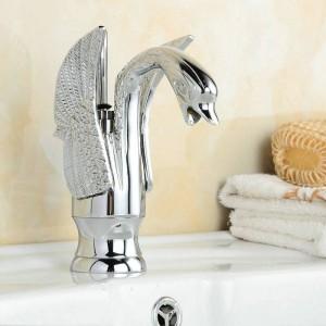 NEU Bad Waschbecken Swan Style Chrom poliert Spüle Mischbatterie Wasserhahn B-002