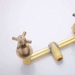 Neue Badewanne Armaturen Antik Messing Dusche Set Badewanne Mischbatterie Dub Griff Dual Contral Dusche Wandmontage Für Badezimmer XT370