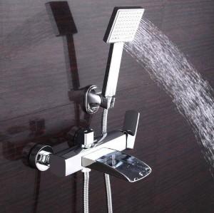 Neue Badewanne Armaturen Chrom Messing Dusche Set Badewanne Mischbatterie Einhand Dual Contral Dusche Wandmontage Für Badezimmer XT355