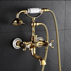 Neue Badewanne Armaturen Luxus Gold Messing Bad Wasserhahn Mischbatterie Wandmontage Handbrause Kit Dusche Wasserhahn Sets XT358