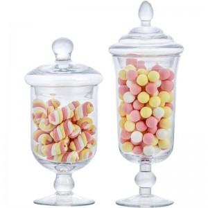 Neues Glassüßigkeitsglas kreativ mit Deckelvorratsbehälter-Vorratsflaschenhochzeitsnachtischeisbecher-Fensterdekoration Dosen
