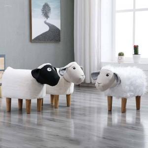 Neue Haushalt Low Foot Hocker Kleine Cartoon Tier Holz Bank Kinder / Kinder Stuhl Wohnzimmer Kleine Tee Tisch Sofa Leder Stoff