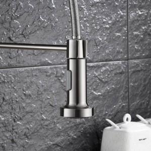 New Küchenarmatur Nickel gebürstet Wasserhahn herausziehen Torneira All Around Rotate Swivel 2-Funktions-Wasser-Auslauf-Mischbatterie LAD-70
