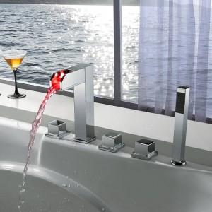 New Luxury LED-Licht 5 sätze Wasserfall Waschbecken Wasserhahn Einzigen Handgriff Messing Heiß Kalt Bad Dusche wasserhahn XT371