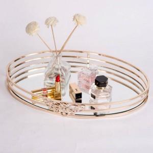 Neue Metall Spiegel Tablett Oval Europäischen Modell Zimmer Couchtisch Tablett Bad Kosmetik Ablage Dekoration