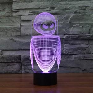 Neues Roboter buntes 3D führte Nachtlicht 7 Farben, die Selbstlampe der Illusion 3D ändern, scherzt / Babyschlafzimmer-Nachttischlampe für das Schlafen
