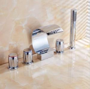5 stücke Badewanne Wasserhahn Chrom wasserfall auslauf Mischbatterien Chrom Messing Bad Dusche Wasserhahn mit Handbrause XR8217