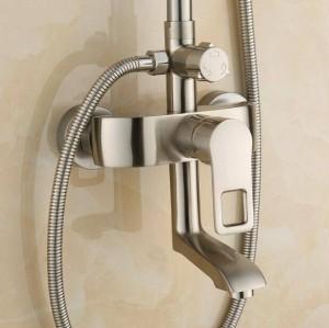 Kostenlose Nickel gebürstet Dusche setzt Dusche Wasserhahn mit Messing Handbrause und heißen und kalten Dusche Mischbatterien XT378