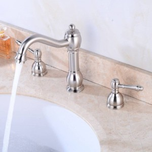 Luxus 3 Teilig Deck Montiert Schwarz Bad Wasserhahn Waschtischmischer Waschbecken TapToilet Wasserhahn Set Schwarz / Nickel Farbe XR8227