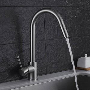 Neue stil Luxus Nickel Einzigen Handgriff Küchenarmatur Herausziehen Sprayer 360 Drehbare Einlochmontage Waschbecken Mischbatterie LAD-84