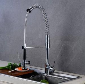 Nickel Chrom Farbe Küche Pull Wasserhahn Mixer Dual Wasser Schwenkauslauf Drehbare Hot Cold Wasserhahn Waschbecken Mischbatterien LAD-113