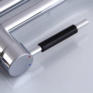 Pull Up Down Küchenarmatur Chrom LED-Licht Swivel Waschbecken Messing Torneira Cozinha Mischbatterien LAD-102