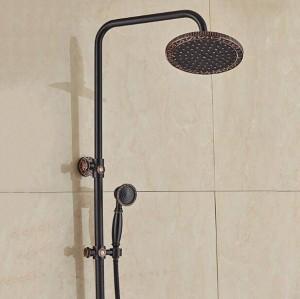 """Neue Wandmontage 8 """"Regen Badezimmer Dusche Set Wasserhahn Schwarz Bronze Siglel Griff Dusche Warmen und Kalten Wasserhähne mit Handbrause XT395"""