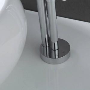 Neueste zeitgenössische design massivem messing bad wasserhahn hoch poliert waschbecken wasserhähne hoch wasserfall becken seitenhahn XR801B
