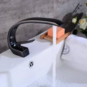 Neu Kunst Becken Wasserhahn Messing Auslauf Badarmaturen Hot Cold Mischbatterie Wasserfall Armaturen Black Crane 9126S