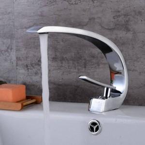 Neu Kunst Becken Wasserhahn Messing Auslauf Badarmaturen Heiß Kalt Mischbatterie Wasserfall Armaturen Chrom Poliert Kran 9126C