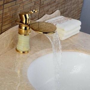 Neu Art Jade Körper Bad Becken Wasserhahn Messing Mischbatterie Goldene Wasserfall Wasserhähne J310