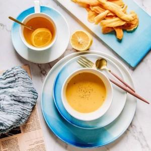 Nordic Farbverlauf Blau Keramikplatte Schüssel Tasse Set Obstschale Dessertteller Kreative Tablett Flaches Geschirr Set Für Speisen