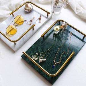Nordic Light Luxury Natürlicher Marmor Rechteckiges Tablett Schmuck Parfüm Schönheit Induktions Tablett Badezimmer Tablett