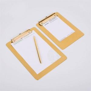 Nordic Metal Gold Office Tischablage mit Clip Scandinavian Vogue Office Datei Hinweis Schreibtisch Ablage Pad Organizer Decor