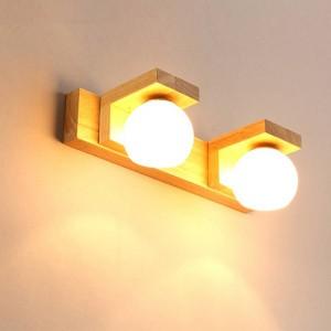 Nordic Spiegel Scheinwerfer Einfache Moderne Wasserdichte Glas Hanglamp Holz LED Wandleuchte Bad Licht Wc Hängende Leuchten