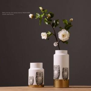 Nordische moderne keramische kreative Eulenvasenblumenanordnungsraumpersönlichkeitsausgangsinnenausstattungverzierungen