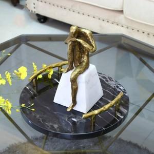 Nordic Modern Light Luxus Schwarz Marmor Runde Tablett Modell Zimmer Hotel Lagerung Ornamente Geschenke