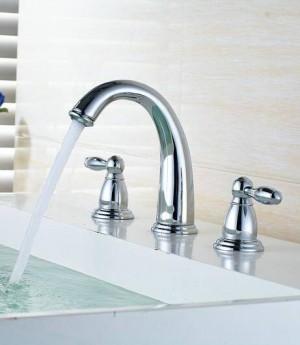 Nordischen Stil Becken Wasserhahn Goldene Platte 3 Loch Waschbecken Wasserhahn Deck Montiert Kalt Hot Vintage Waschbecken Wasserhahn Mischbatterie 8207