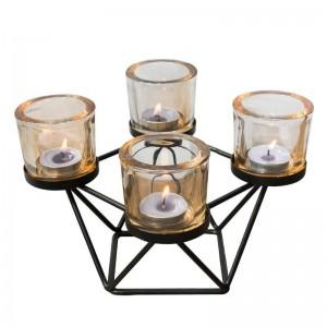 Nordischen Stil Kerzenhalter geometrische Eisen Art Glas Kerzenhalter Aromatherapie Kerzen Base Candlelight Dinner Night Light Decor
