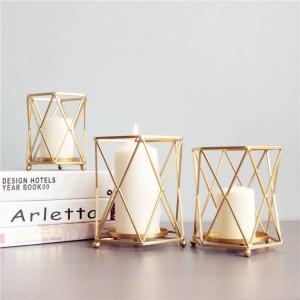 Nordischen Stil Kerzenhalter Gold Geometrische Metall Eisen Kunst Kerzenbasis Restaurant Party Nachtlicht Dekoration Schmuck Handwerk