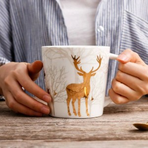 Nordischen Stil Keramiktasse Goldener Hirsch Überzug 550 ML Morgenbecher Milch Kaffee Tee Frühstück Porzellan Drink Cup Kitchen Tools
