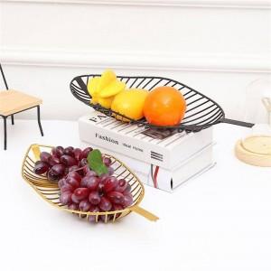 Nordischen Stil Eisen Tablett Blattförmige Obstkorb Einfache Süßigkeiten Snack Ablagekorb Küche Wohnzimmer Tisch Obstteller Decor