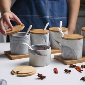 Marmorierte Keramikgewürzdose im nordischen Stil Dreiteilige Gewürzdose Salzstreuer Gewürzaufbewahrung Feuchtigkeitsbeständige Gewürzsets