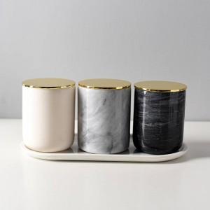 Nordischen Stil Natur Marmor Gold bedeckt Kerze Tasse Lagertank Lagertank Dekoration Stifthalter