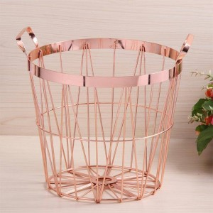 Nordic Style Rose Gold Aufbewahrungskorb Schmiedeeisen Küche Clear Up Wäschekorb mit Griff