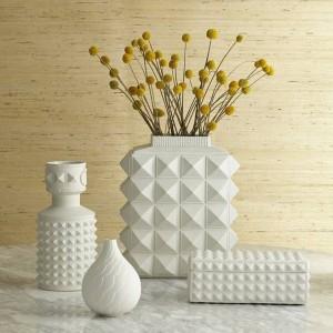 Nordischen Stil weiße geometrische Keramik Vasen einfache moderne Startseite Modell Zimmer Wohnzimmer Blumen Ornamente Ornamente