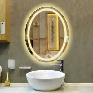 Oval Badezimmer LED Lampe Spiegel Wandbehang Badezimmer mit Licht Kosmetikspiegel modernen Touch-Schalter Badspiegel mx12151130