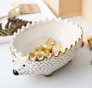 Packung mit 4 Stück Igel Schüssel Snack Tablett Dessertschale Kinder Aufbewahrungsschale Organizer Box Keramik Cartoon Schüssel