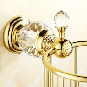 Papierhalter Goldkristall Wandmontage Badezimmerzubehör Toilettenpapierhalter Schwarz Bad WC-Korb Taschentuchhalter HK-35