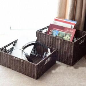 Aufbewahrungskorb aus Nudel- und Rattangewebe Aufbewahrungskorb aus Magazin im japanischen Stil plus große Schublade