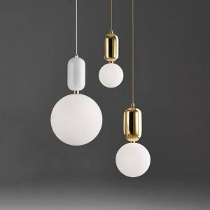 Pendelleuchte glaskugel Postmoderne tropfenlampe Kreative Eisen Suspension Cafe Bar shop Büro Kunst Übergabe gold weiß