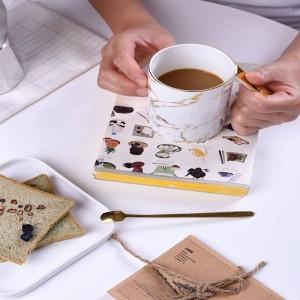 Persönlichkeitsbecher Kaffeetassen Frühstücksmilchbecher und Löffelknochenwasserbecher Britische Porzellanteeparty Teatime Afternoon Home