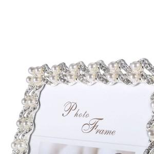 Bilderrahmen aus versilbertem synthetischem Diamant und Perle und Glas für Tischdisplays
