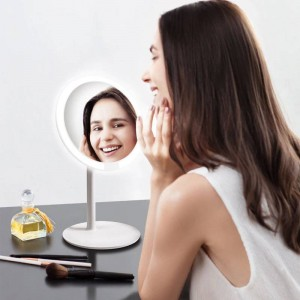 Rosa kosmetikspiegel desktop led lampe desktop smart füllen licht hause falten tragbaren schlafsaal spiegel mx12261555