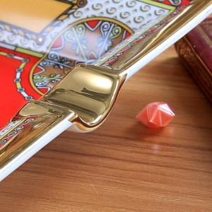 Porzellan Aschenbecher Knochengott Pferd Design rote Farbe Kontur in Gold Rechteckform Aschenbecher Zigarette Aschenbecher Werbegeschenk