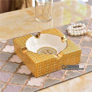 Porzellan Aschenbecher Elfenbein Porzellan 2 Größen der karierte Design Umriss in Gold quadratische Form Aschenbecher für Zuhause Housewarminggeschenke