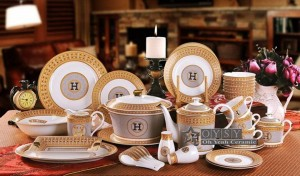 """Porzellanschüssel Knochen """"H"""" Mark Mosaik Design Umriss in Gold runde Form 4,5 """"Schüssel 4,5"""" Reisschüssel passen kleinen Löffel zu verwenden"""